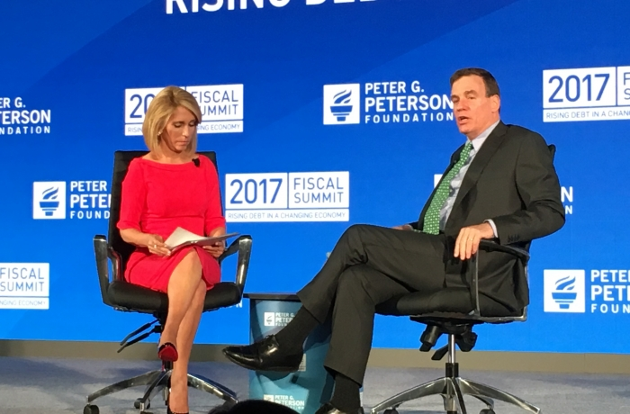 Senator Warner speaks with CNN's Dana Bash at the Peter G. Peterson Foundation's 2017 Fiscal Summit
