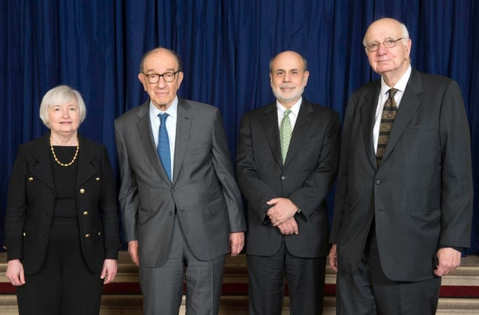 From left to right: Former Federal Reserve Board Chairs Janet Yellen, Alan Greenspan, Ben Bernanke, and Paul A. Volcker